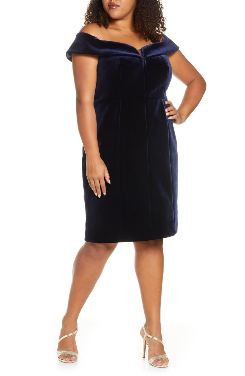VINCE CAMUTO Off the Shoulder Velvet Sheath Dress, Main, color, NAVY
