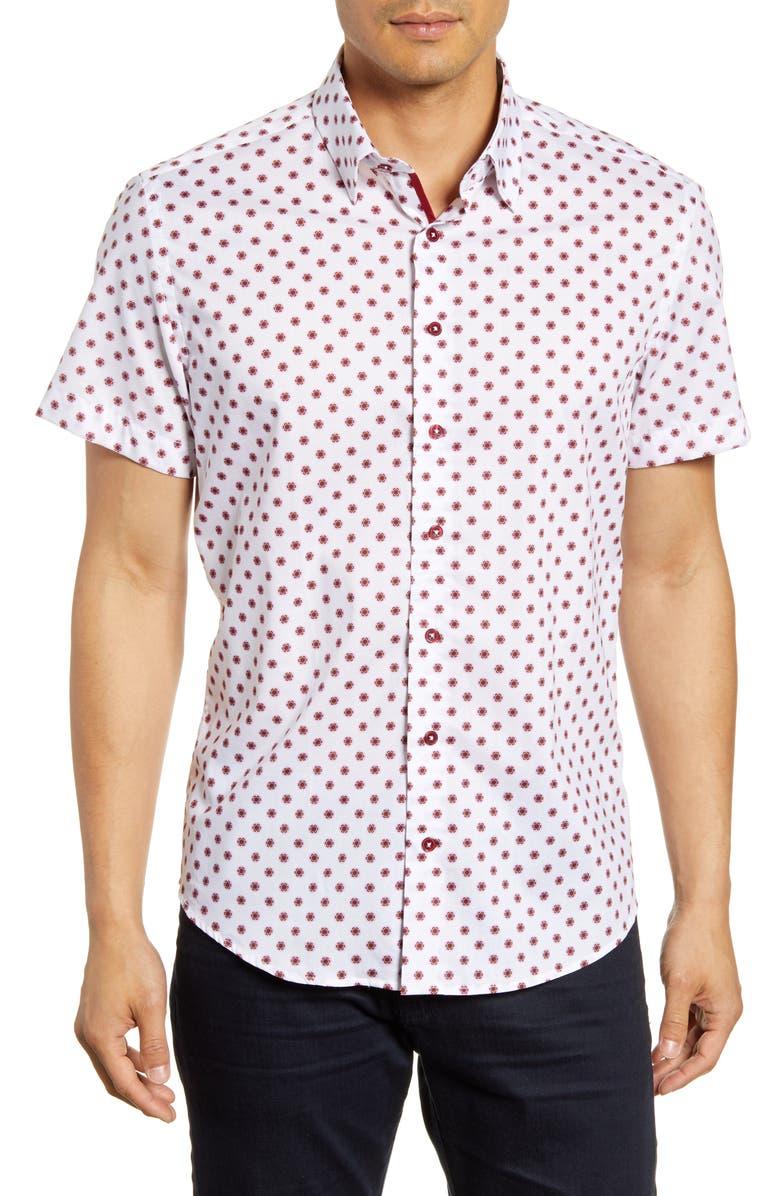 STONE ROSE Regular Fit Short Sleeve Button-Up Shirt, Main, color, PINK