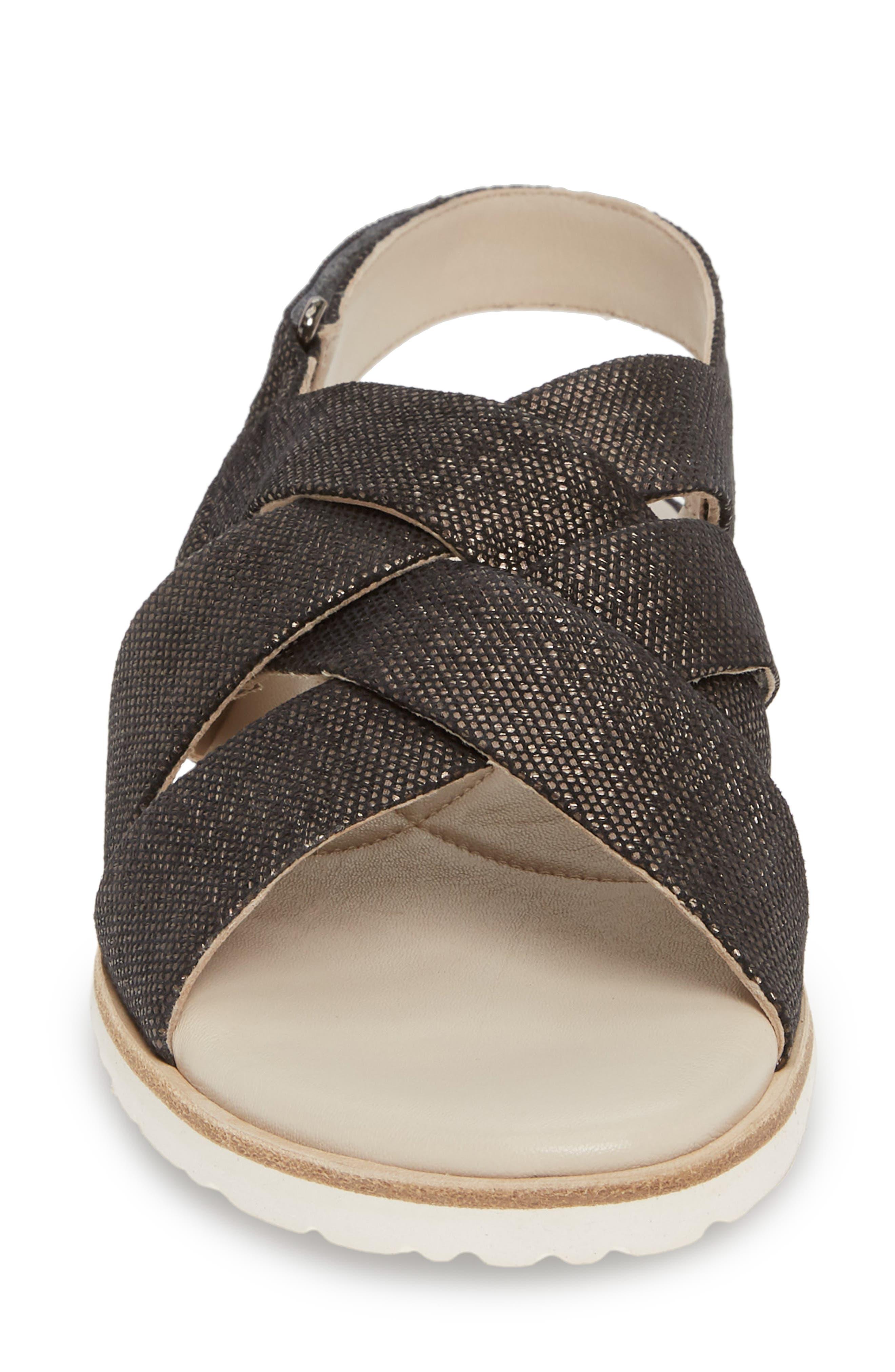,                             Biondina Textured Sandal,                             Alternate thumbnail 5, color,                             GRAPHITE LEATHER