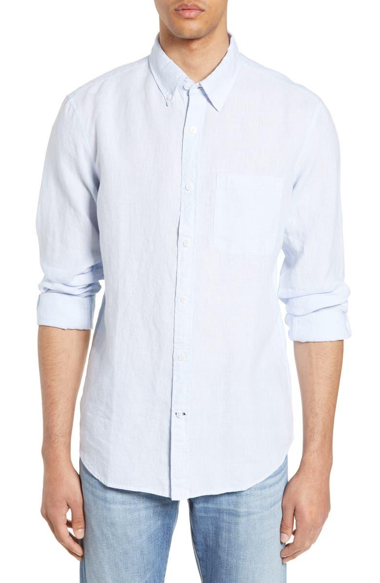 CLUB MONACO Slim Fit Linen Sport Shirt, Main, color, 450