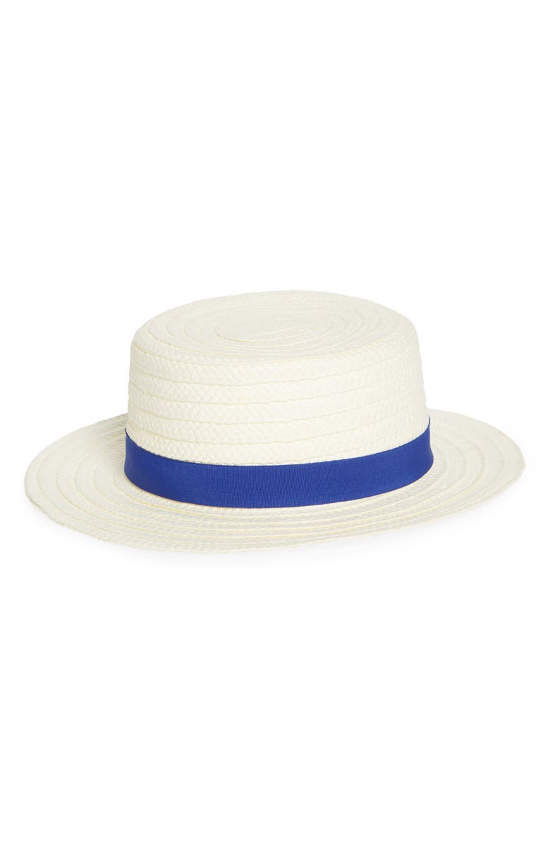TREASURE & BOND Straw Boater Hat, Main, color, 100