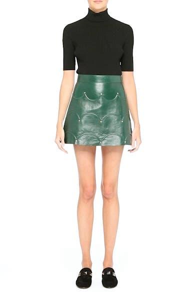 Scallop Detail Leather Miniskirt, video thumbnail
