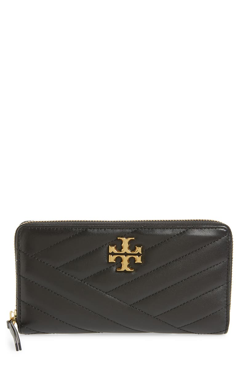 TORY BURCH Kira Chevron Quilted Zip Leather Continental Wallet, Main, color, BLACK