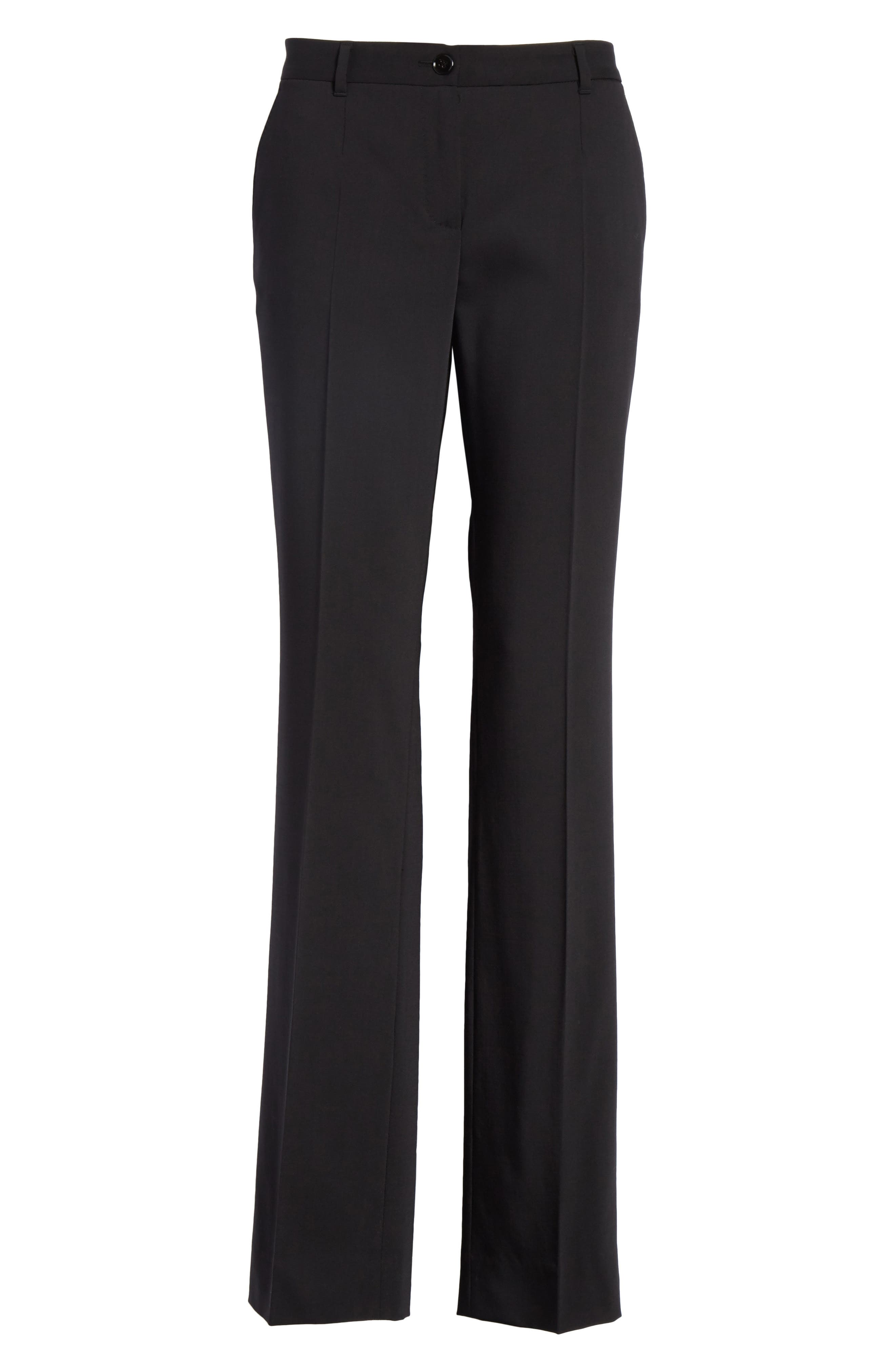 ,                             Straight Leg Stretch Wool Trousers,                             Alternate thumbnail 7, color,                             BLACK