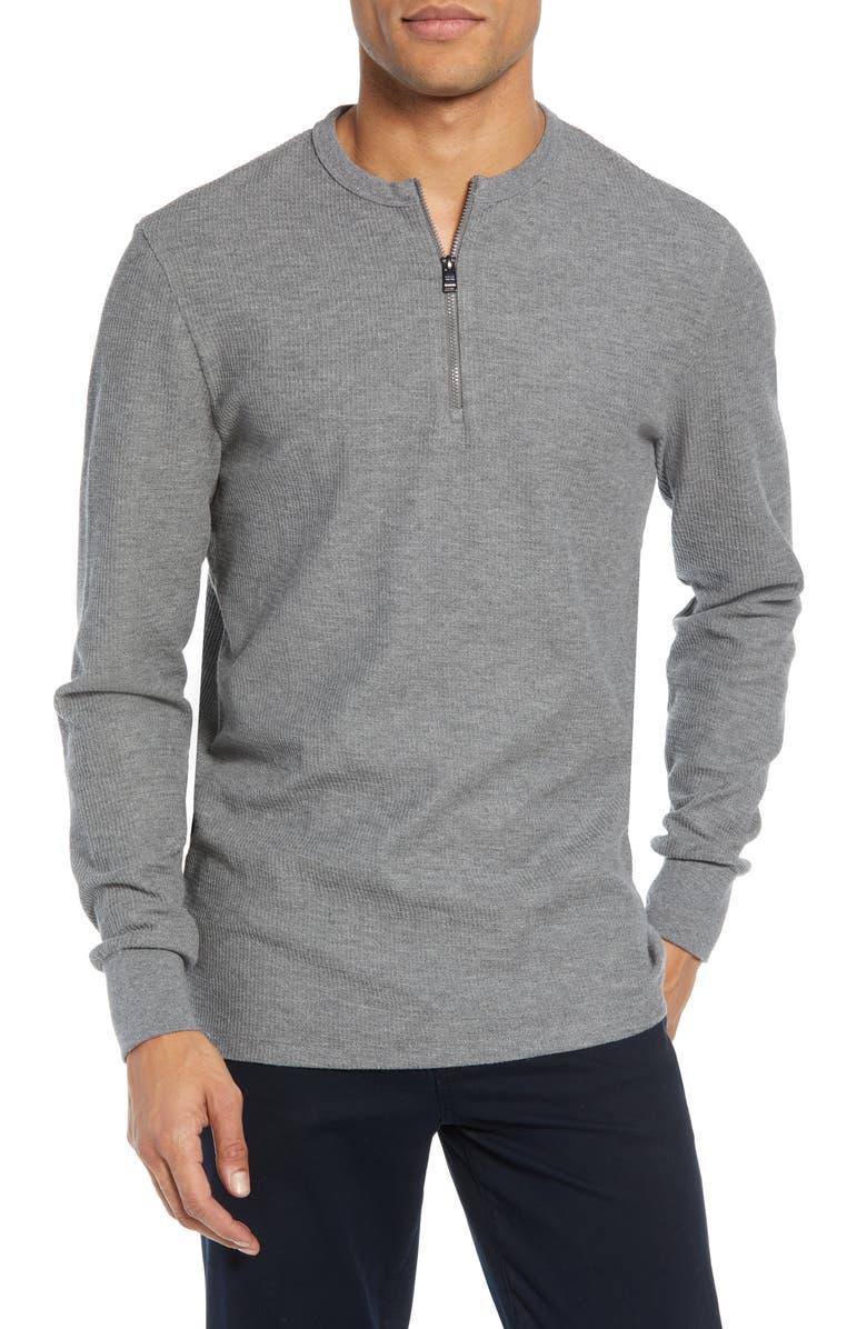 BOSS Textor Regular Fit Quarter Zip Thermal T-Shirt, Main, color, GREY