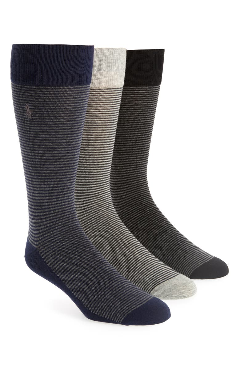 POLO RALPH LAUREN 3-Pack Feeder Stripe Socks, Main, color, 001