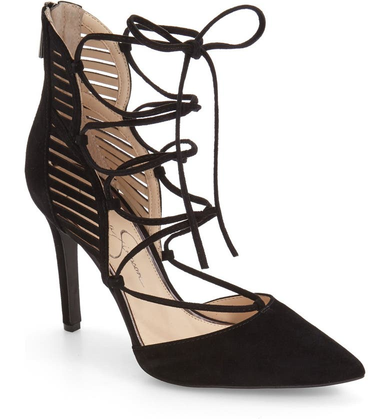 JESSICA SIMPSON 'Cynessa' Ghillie Cage Pump, Main, color, 002