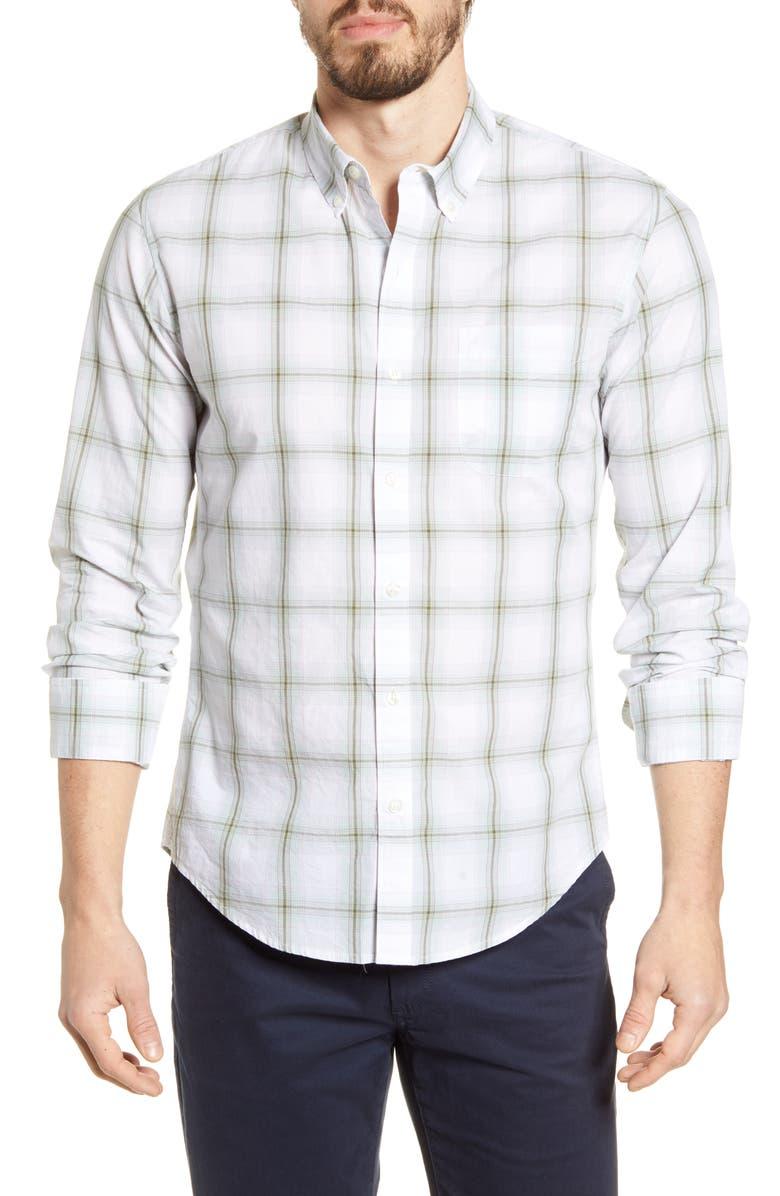 BONOBOS Summer Weight Slim Fit Plaid Button-Down Shirt, Main, color, 300
