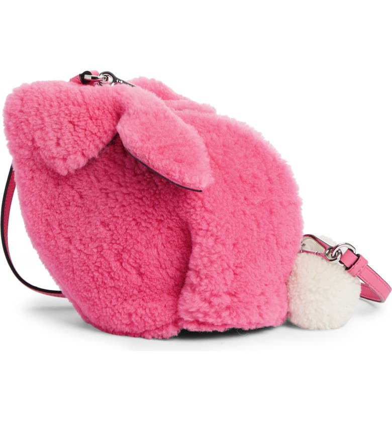 LOEWE Mini Bunny Fuzzy Genuine Shearling Crossbody Bag, Main, color, WILD ROSE