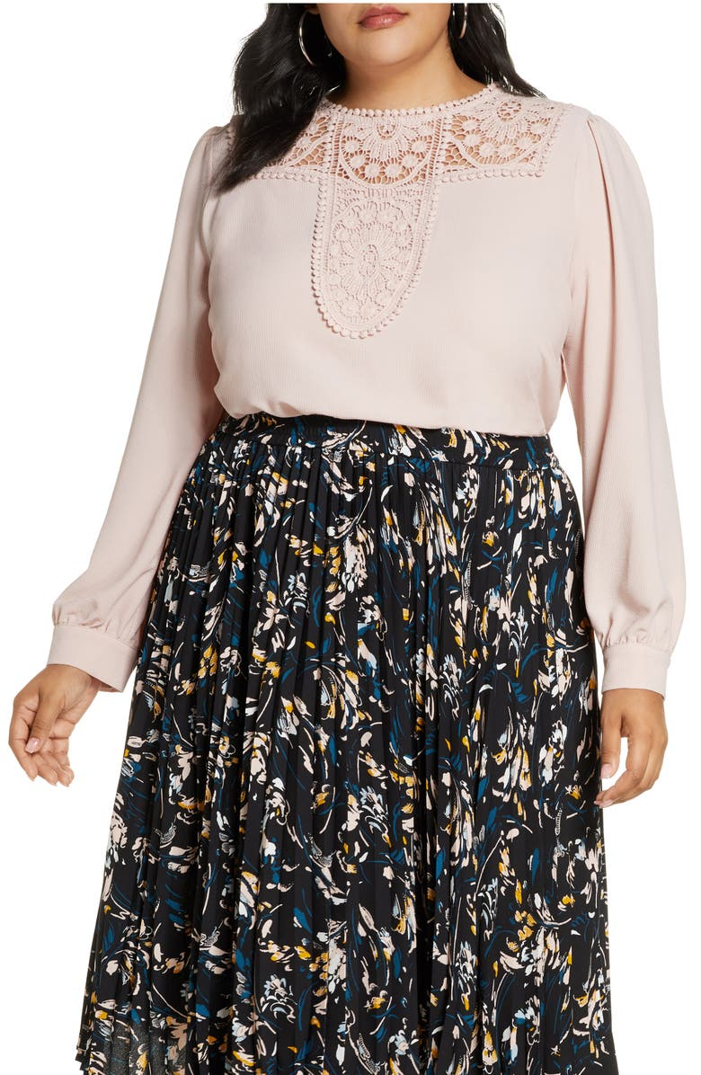 HALOGEN<SUP>®</SUP> Embroidered Lace Yoke Blouse, Main, color, PINK SMOKE