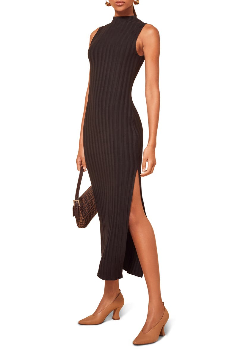 REFORMATION Lynn Sleeveless Ribbed Sweater Dress, Main, color, BLACK