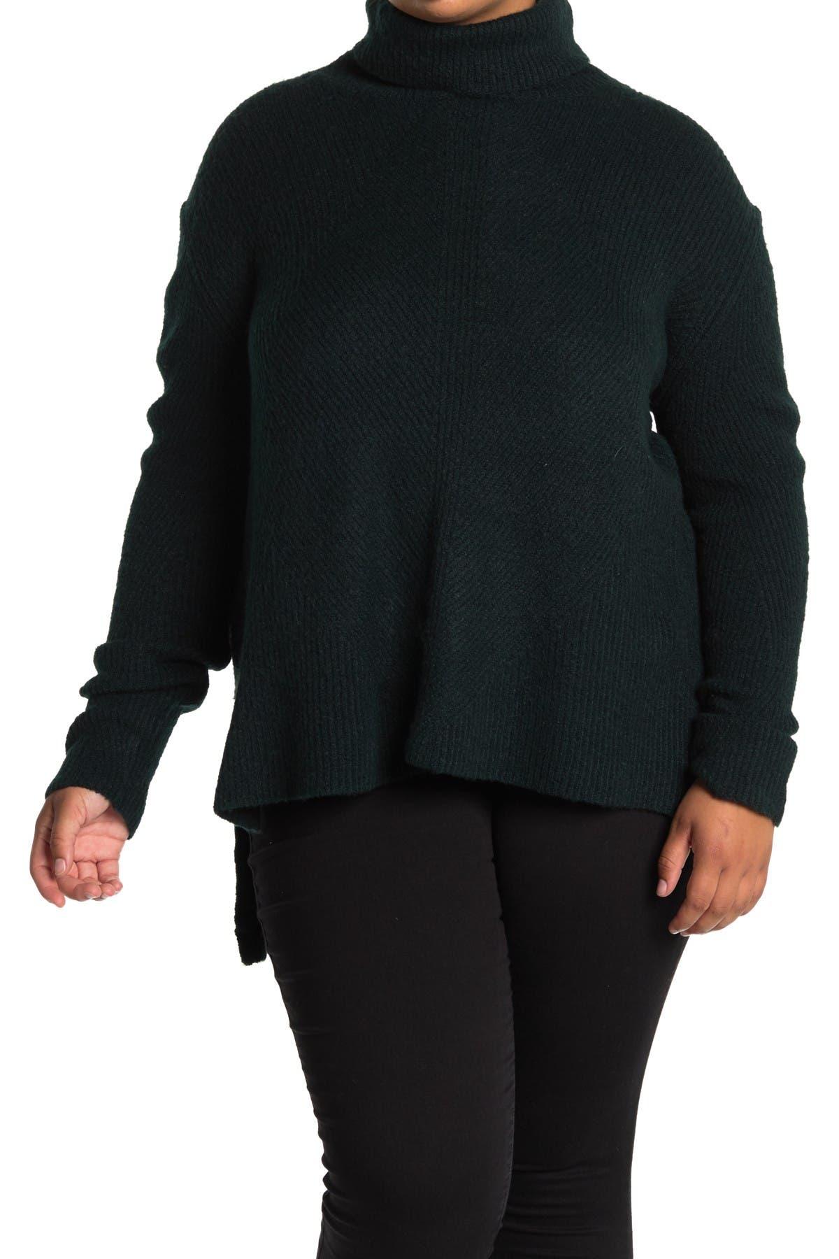 Image of Sweet Romeo Turtleneck Ribbed Tunic Sweater