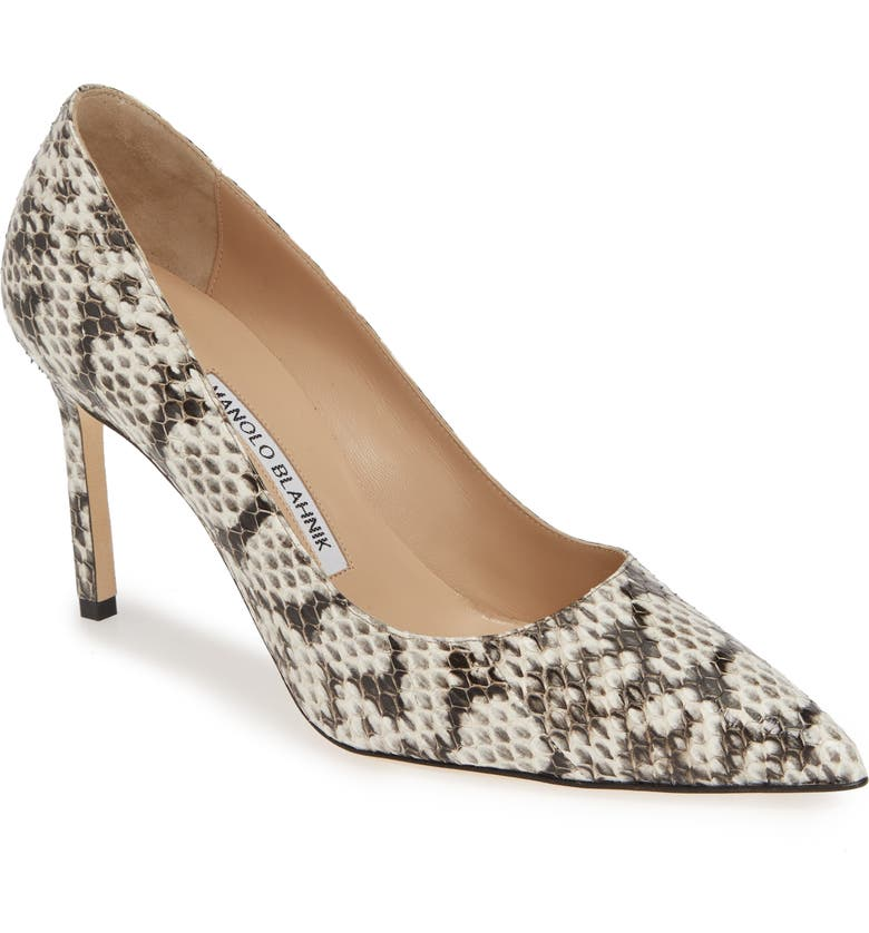 MANOLO BLAHNIK BB Genuine Snakeskin Pointy Toe Pump, Main, color, NATURAL ROCCIA