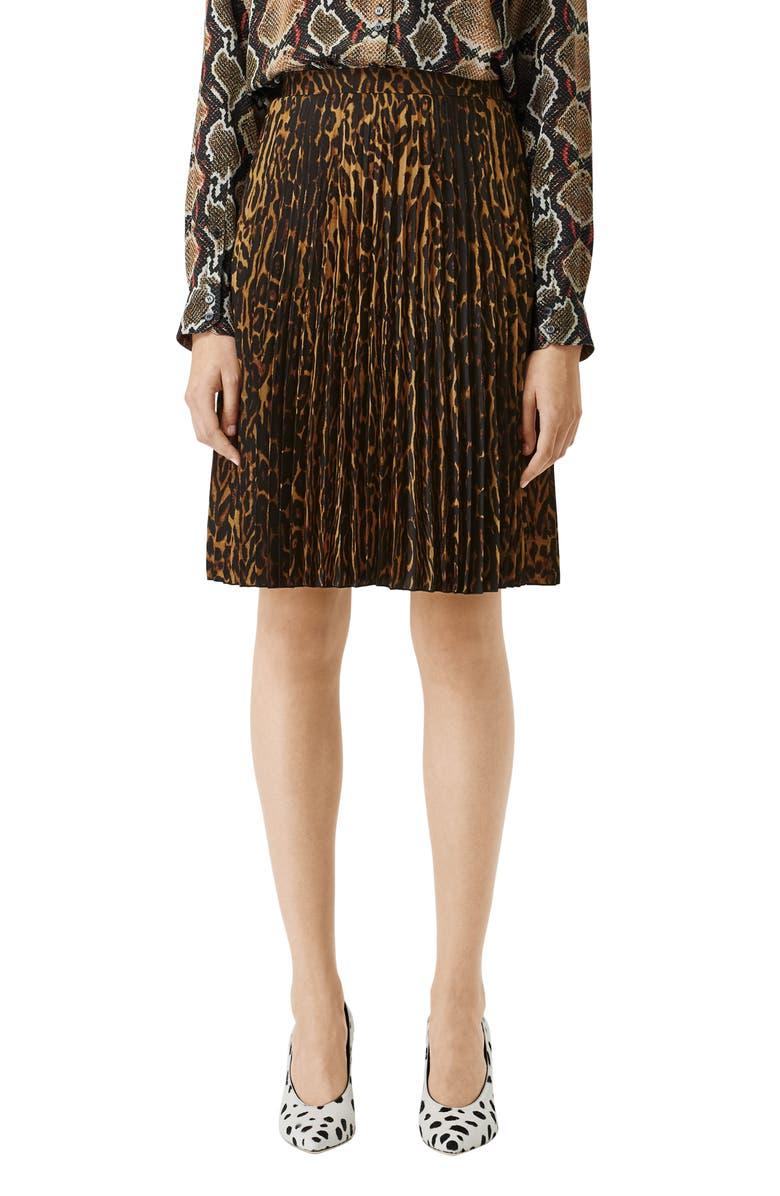 BURBERRY Rersby Pleated Leopard Print Skirt, Main, color, DARK MUSTARD