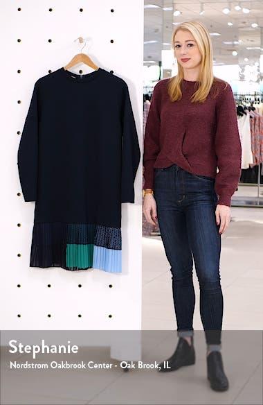 Long Sleeve Pleated Flounce Neoprene Dress, sales video thumbnail