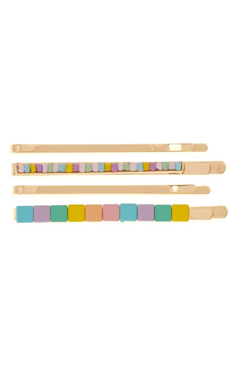 BP. 4-Pack Geo Tile Hair Clips, Main, color, MULTI- GOLD