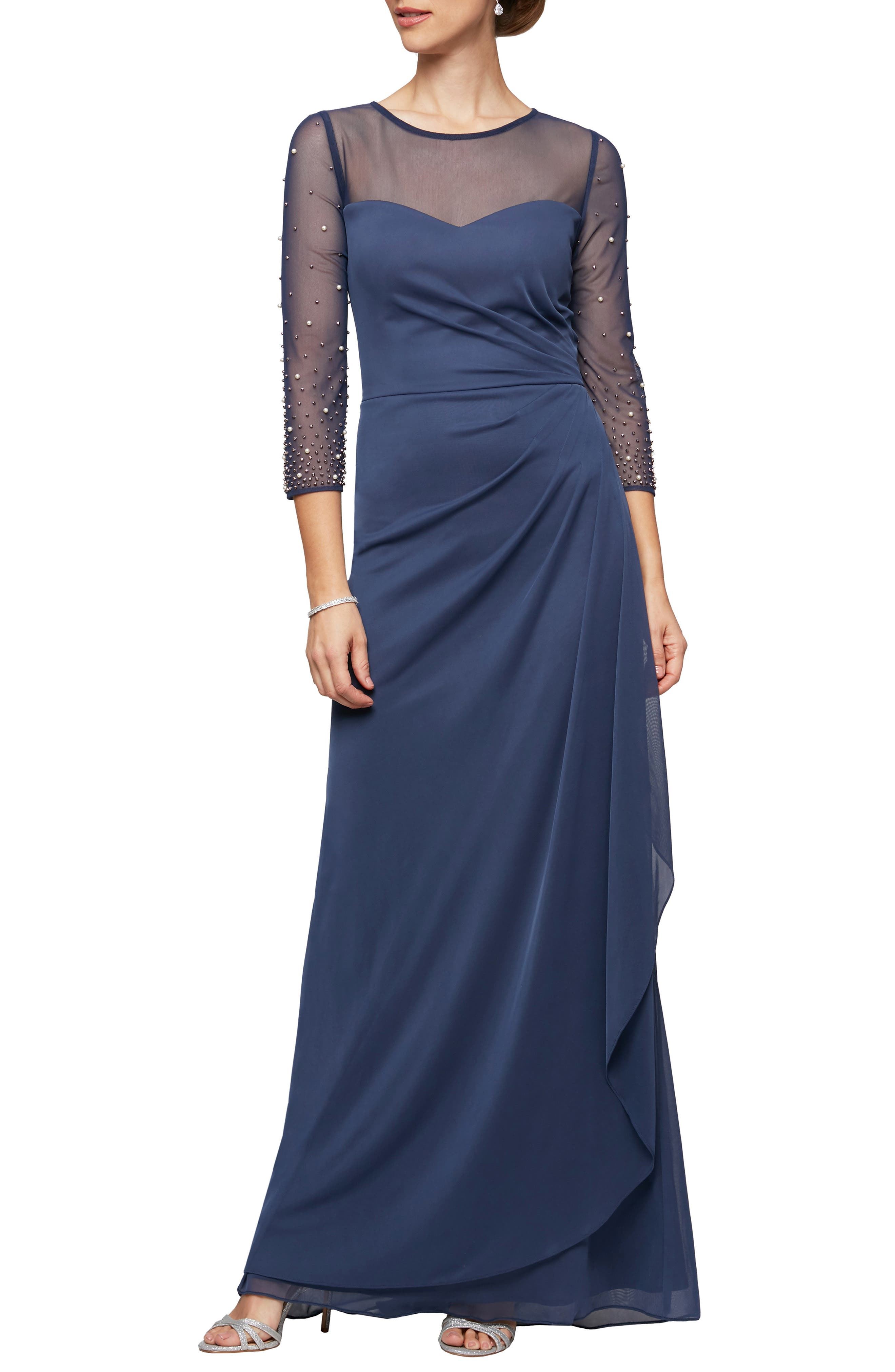 An elegant gown telegraphs serene beauty with its draped structure, beaded sleeves and sheer yoke and sleeves. Style Name: Alex Evenings Illusion Lace Beaded Detail A-Line Gown. Style Number: 6067780. Available in stores.
