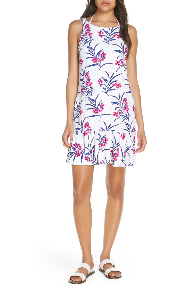 TOMMY BAHAMA Oasis Blossoms Spa Cover-Up Dress, Main, color, WHITE