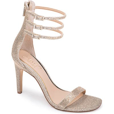Jewel Badgley Mischka Regina Ankle Strap Sandal, Metallic