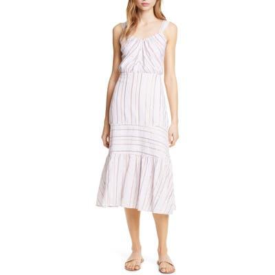 La Vie Rebecca Taylor Metallic Stripe Cotton Sundress, Purple