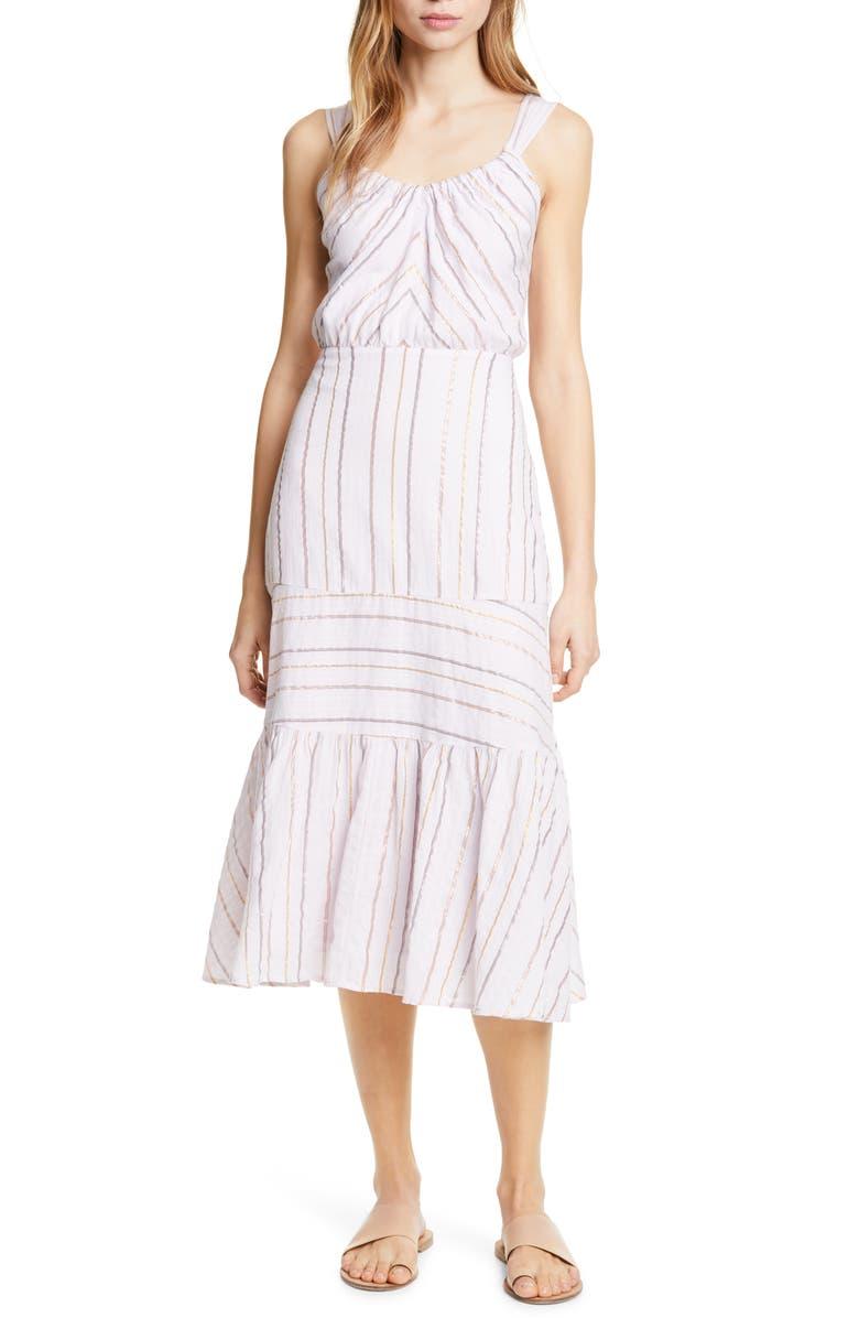LA VIE REBECCA TAYLOR Metallic Stripe Cotton Sundress, Main, color, FADED LILAC