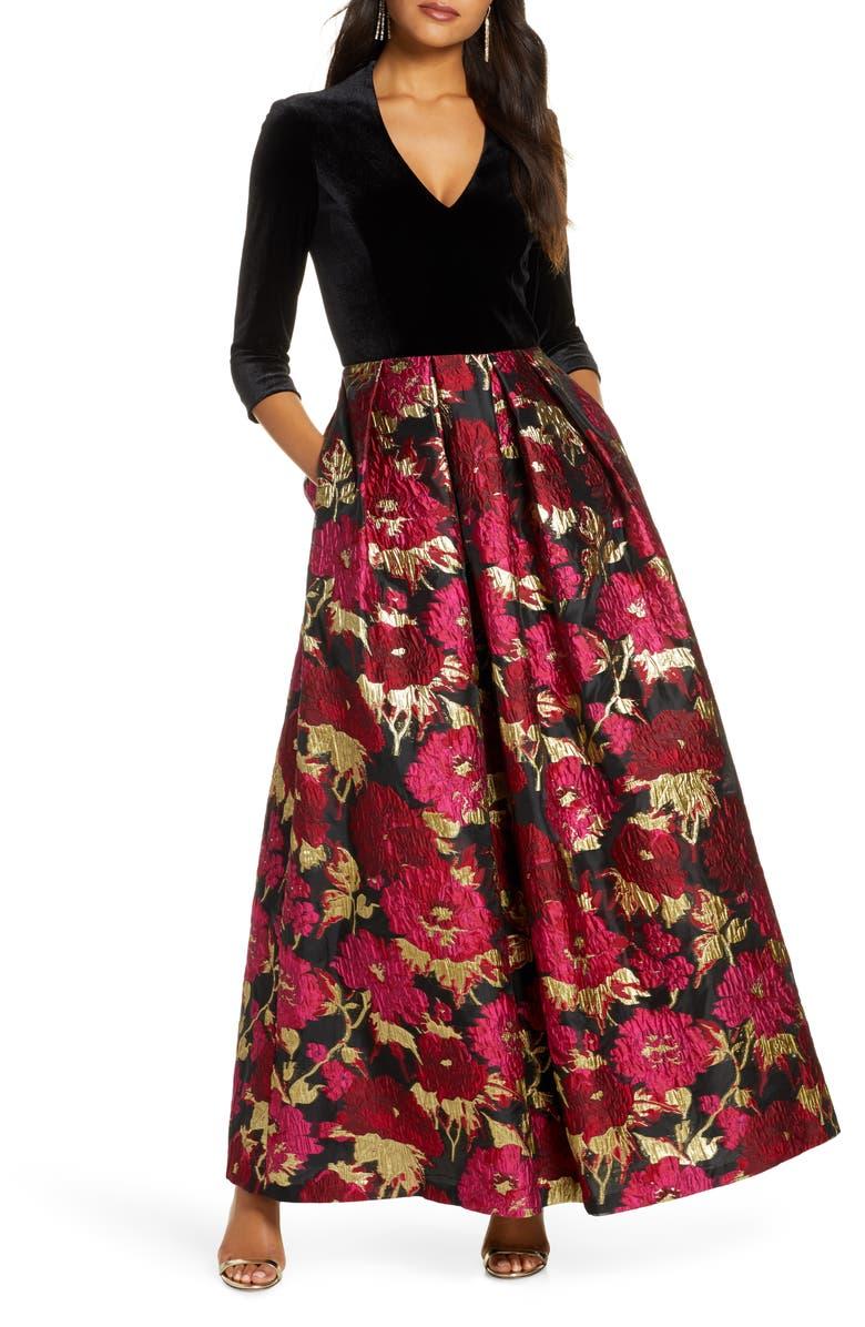 ELIZA J Velvet & Floral Jacquard Ballgown, Main, color, BLACK