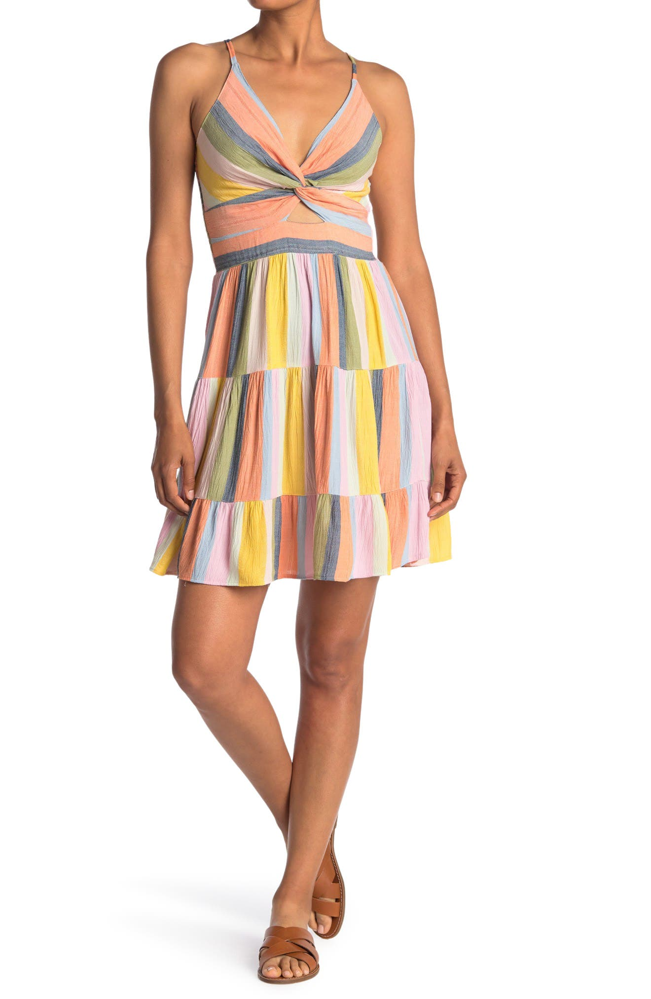 Image of Angie Tiered Twist Front Mini Dress