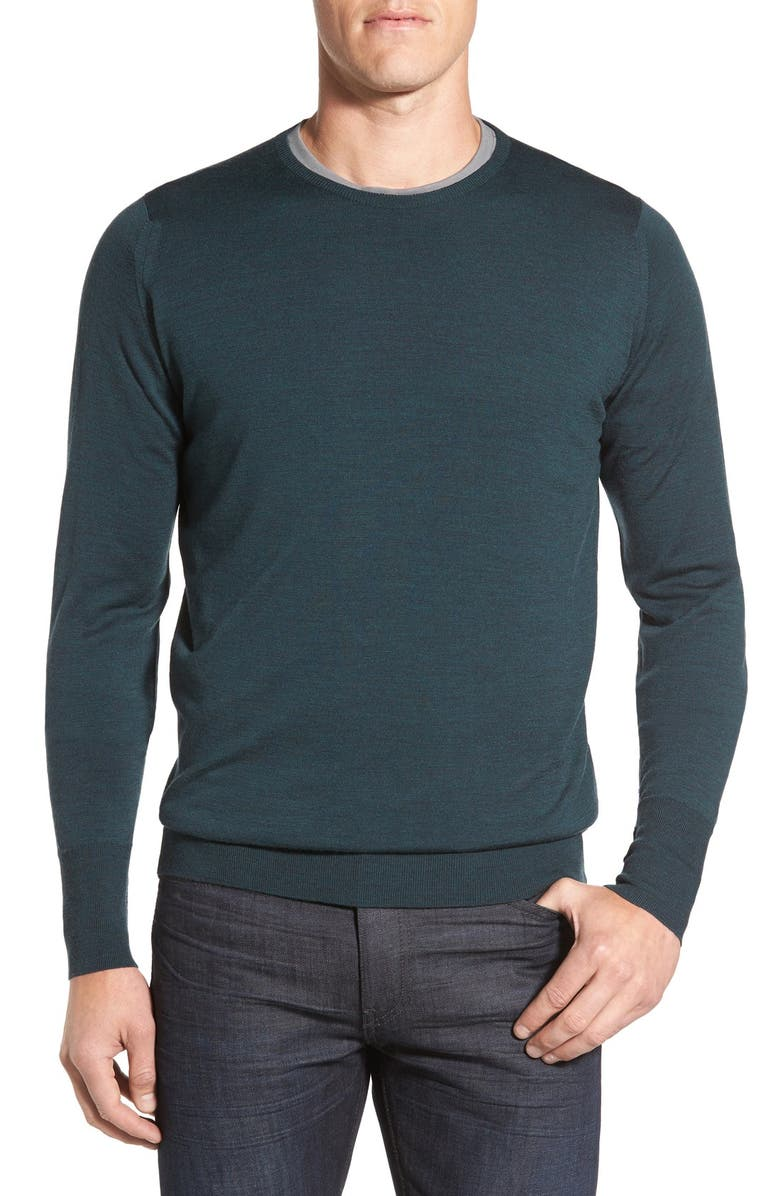JOHN SMEDLEY 'Marcus' Easy Fit Crewneck Wool Sweater, Main, color, RACING GREEN