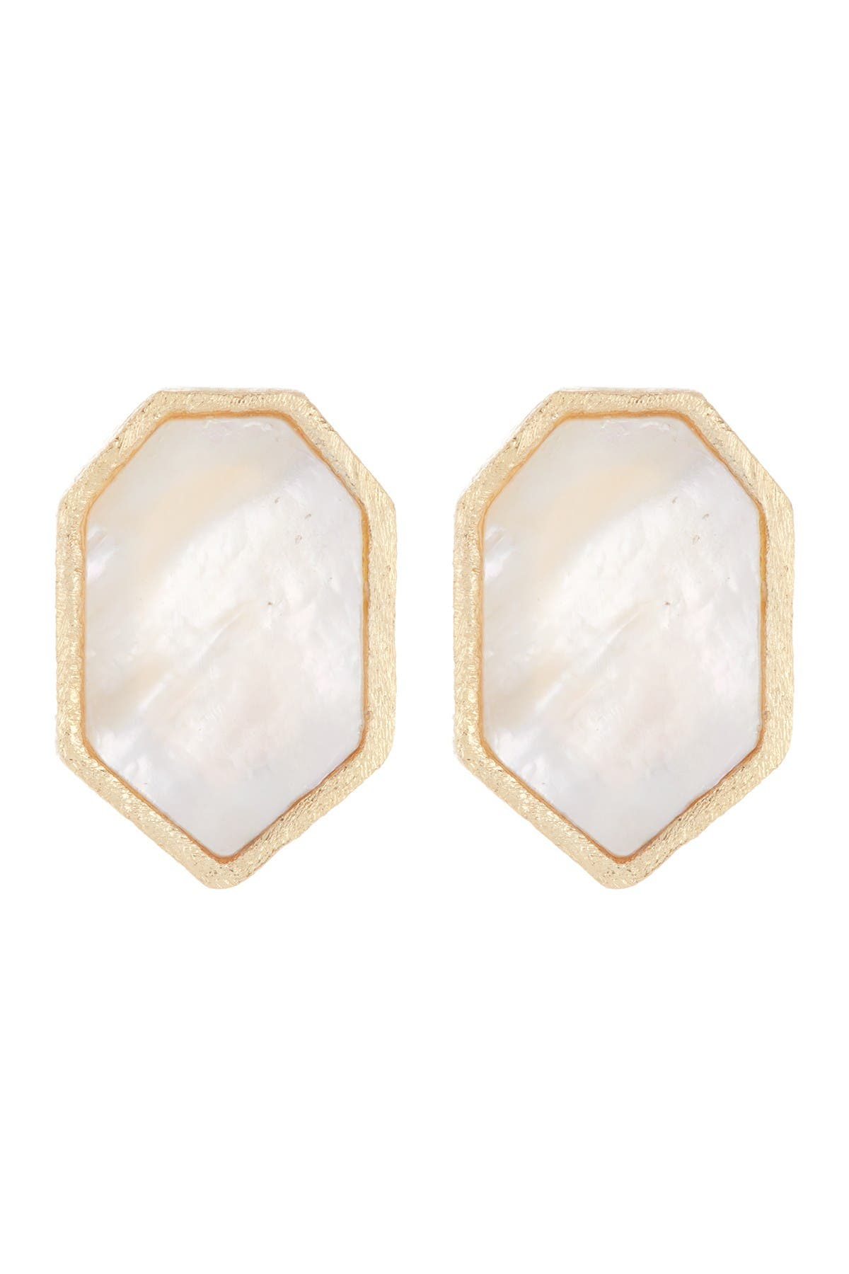 Image of Rivka Friedman 18K Gold Clad Satin Finish Mother of Pearl Geo Stud Earrings