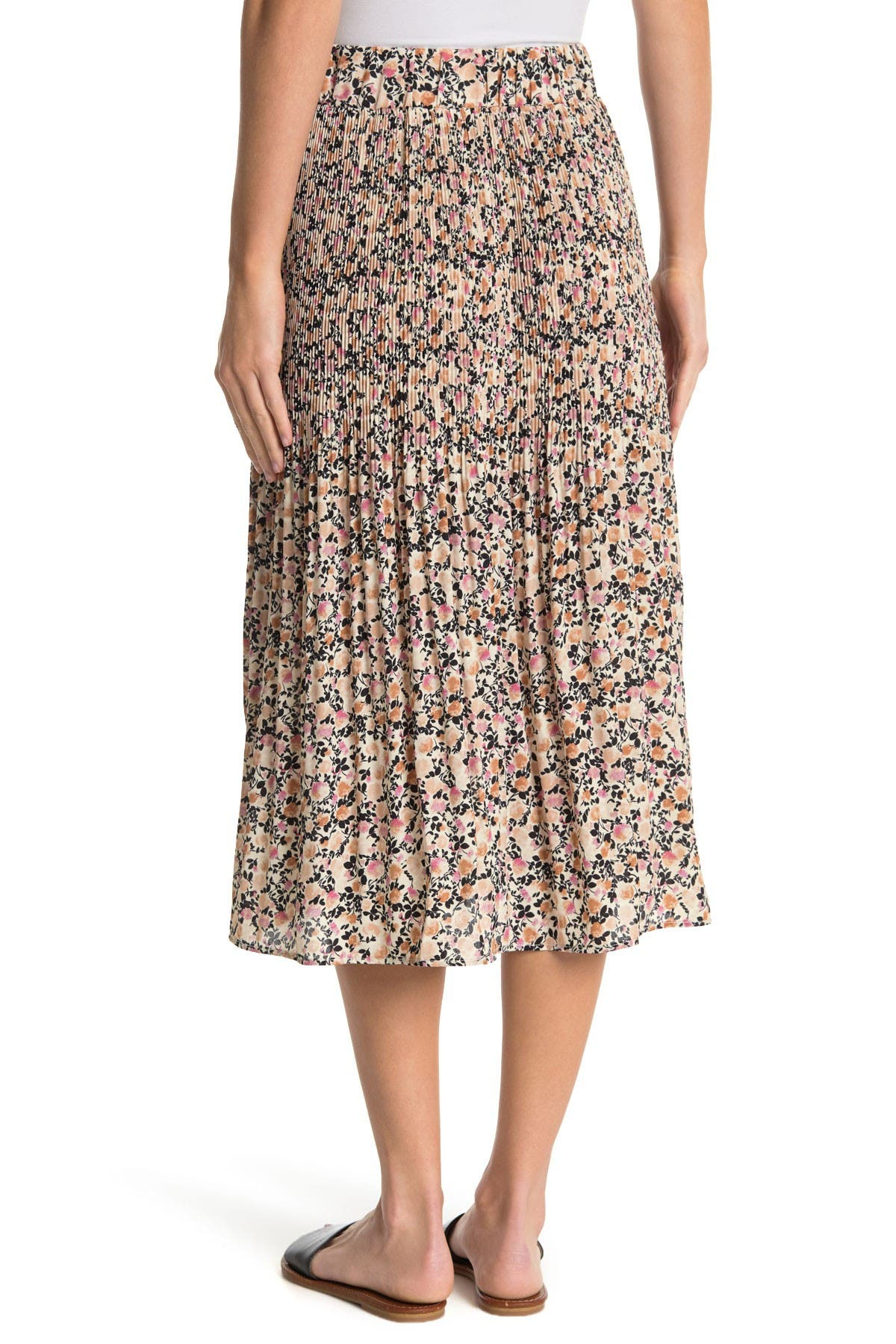 Image of Chenault Ditsy Floral Print Pleated Skirt