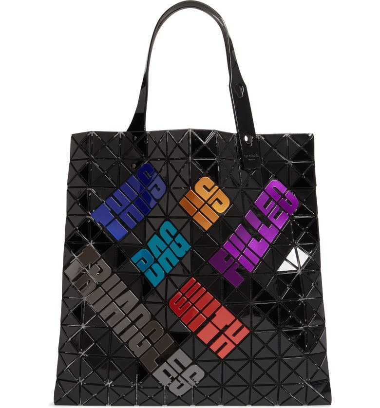 BAO BAO ISSEY MIYAKE Typography Tote, Main, color, DARK MIX