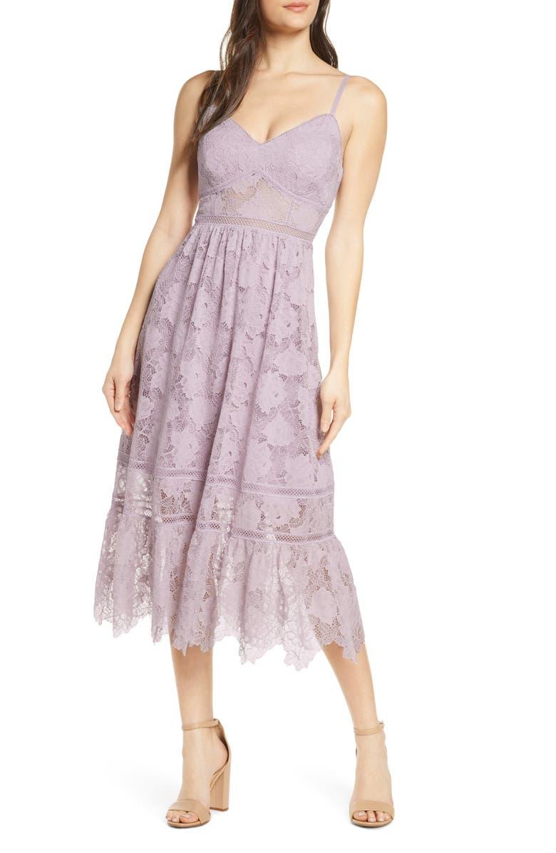 EVER NEW Sleeveless Lace Midi Dress, Main, color, LAVENDER