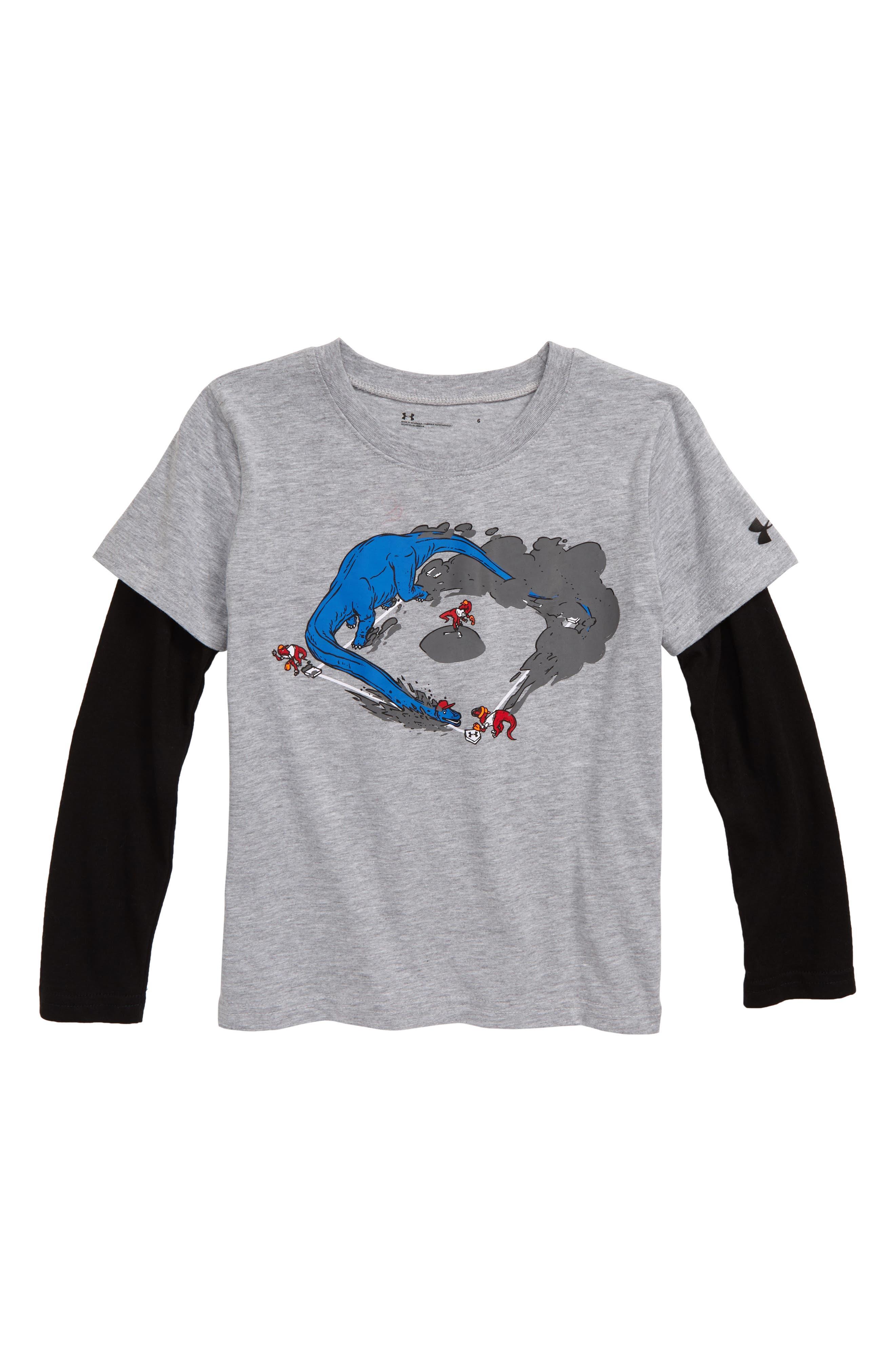 Toddler Boys Under Armour Bronto Base Slider Shirt Size 3T  Grey