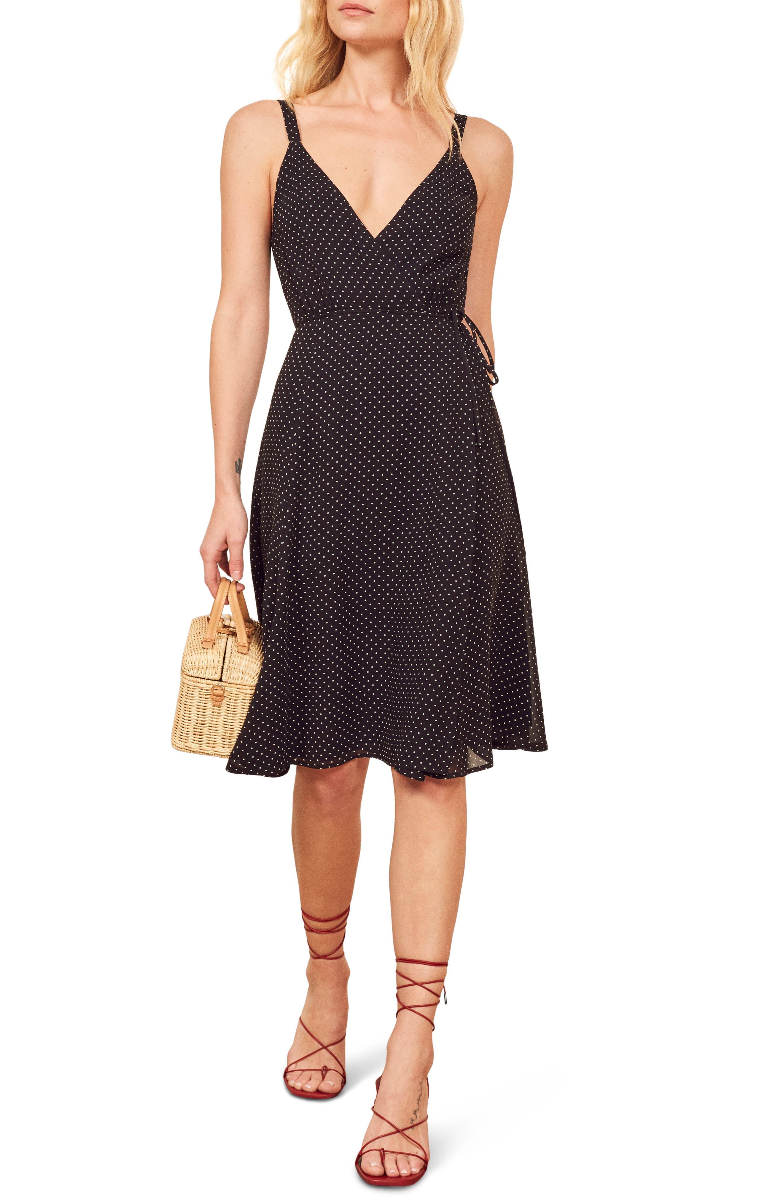 Reformation Mallory Wrap Dress, Black