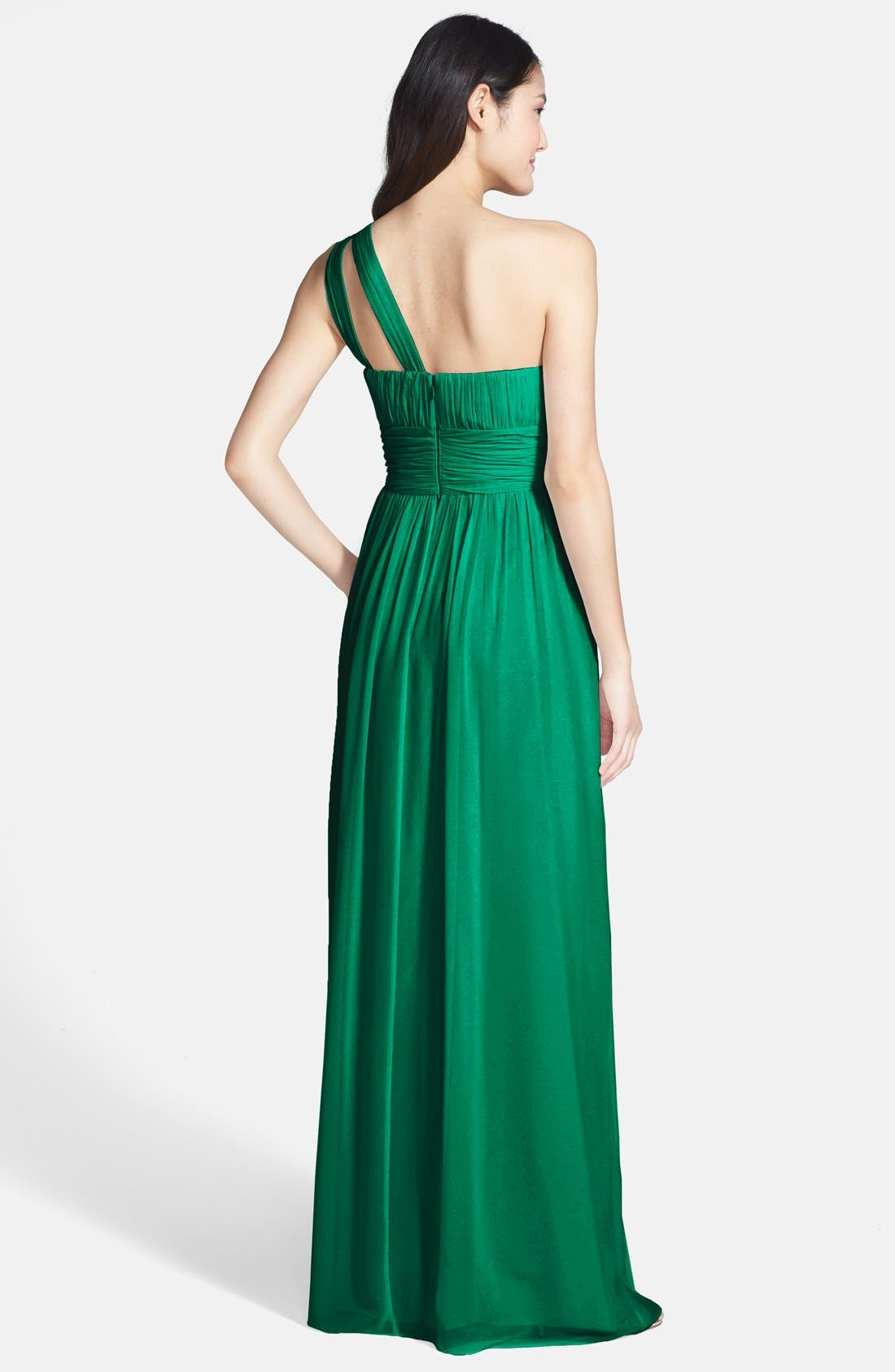 ,                             'Rachel' Ruched One-Shoulder Chiffon Gown,                             Alternate thumbnail 43, color,                             314