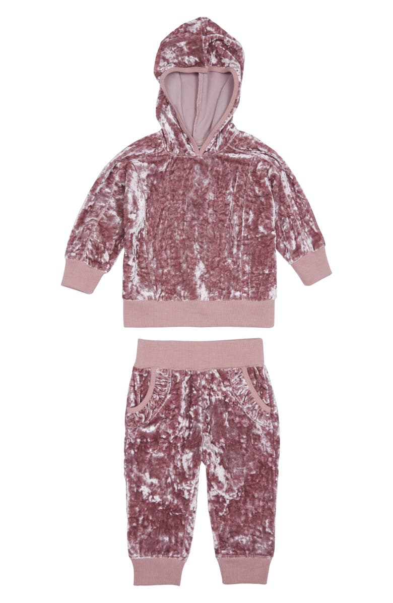 HABITUAL Haibtual Drew Crushed Velour Hoodie & Jogger Pants Set, Main, color, LIGHT PINK