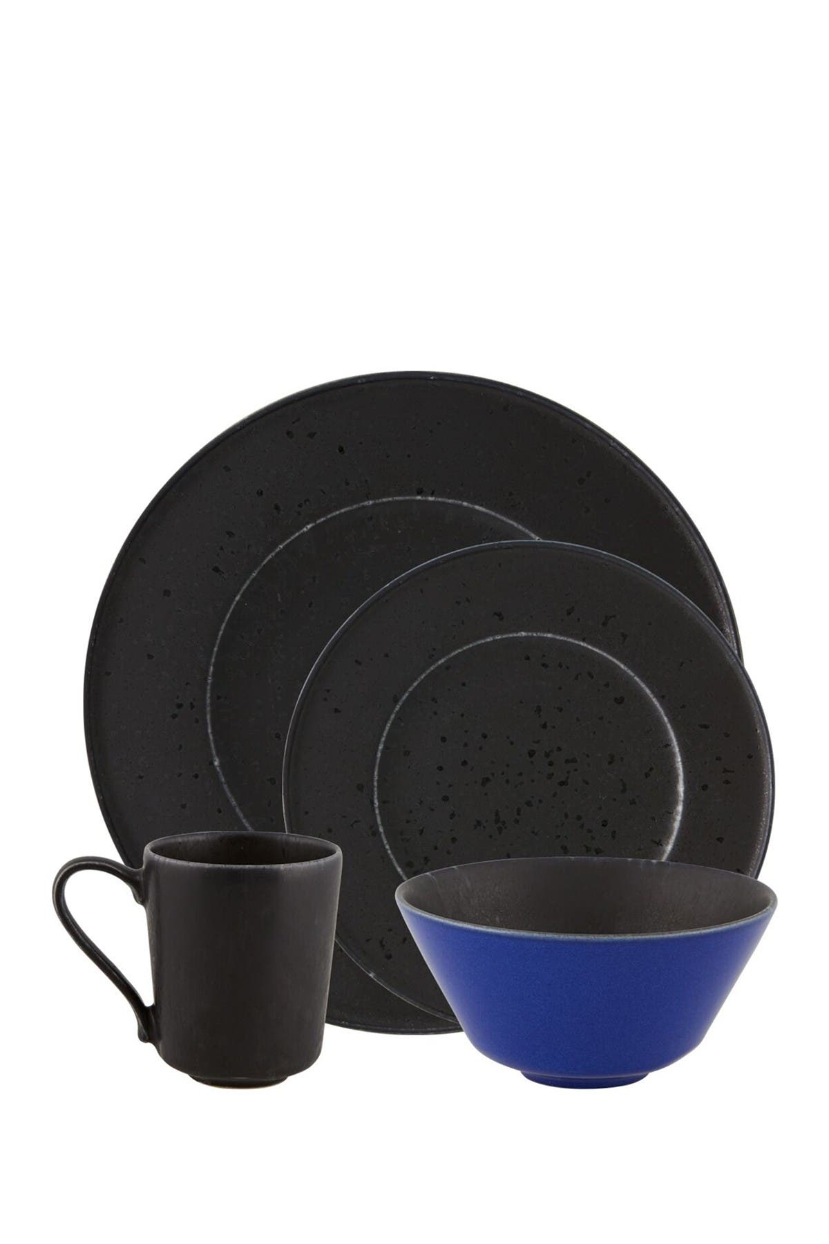 Image of Casa Alegre Noir Dinnerware 4-Piece Place Setting - Black