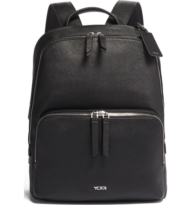 TUMI Varek Hudson Leather Backpack, Main, color, BLACK