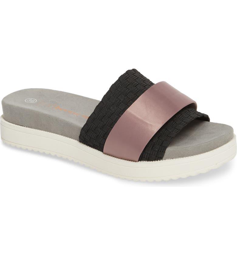 BERNIE MEV. Ibiza Sandal, Main, color, BLACK FABRIC/ PINK