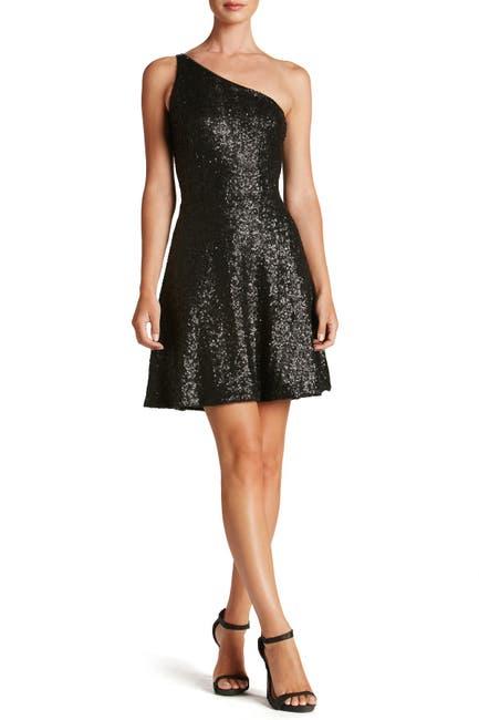 Image of Dress the Population Tina One-Shoulder Sequin Fit & Flare Dress