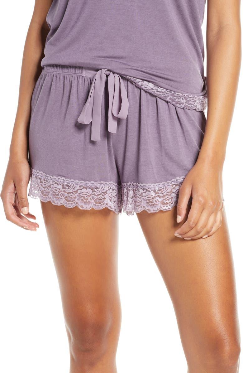 FLORA NIKROOZ Snuggle Lounge Shorts, Main, color, LAVENDER