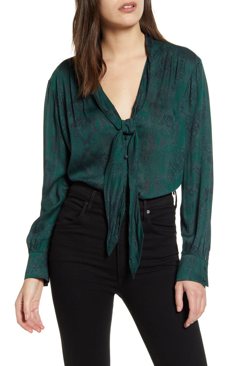 7 FOR ALL MANKIND<SUP>®</SUP> Snake Print Tie Neck Blouse, Main, color, GREEN PYTHON
