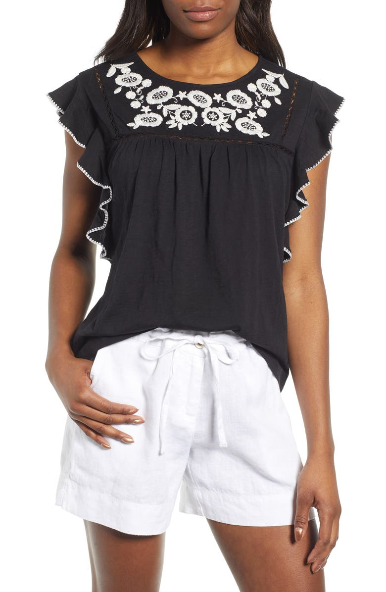 CASLON<SUP>®</SUP> Flutter Sleeve Embroidered Top, Main, color, BLACK- IVORY C EMBRIODERY