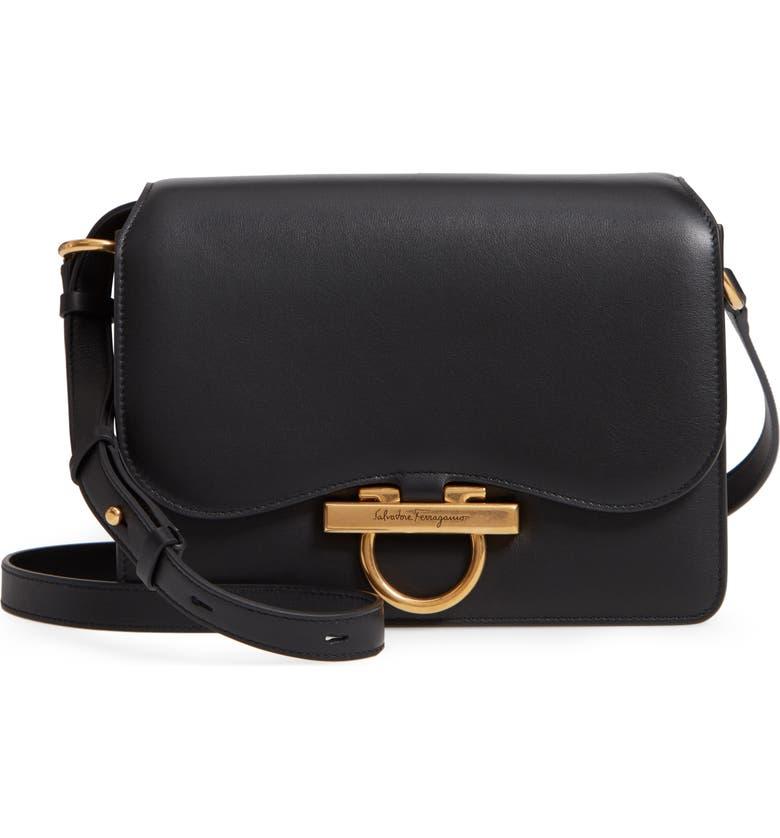 SALVATORE FERRAGAMO Medium Classic Flap Leather Shoulder Bag, Main, color, BLACK