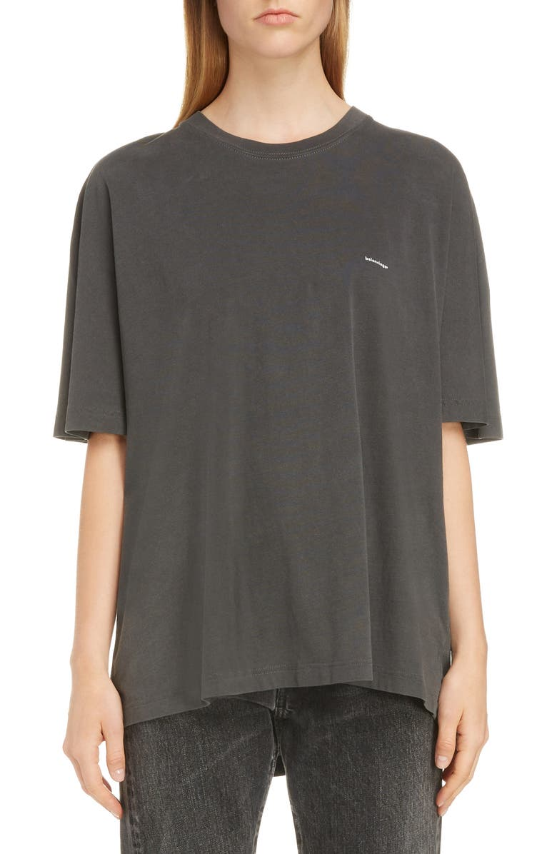 BALENCIAGA Small Logo Oversized Tee, Main, color, WASHED BLACK