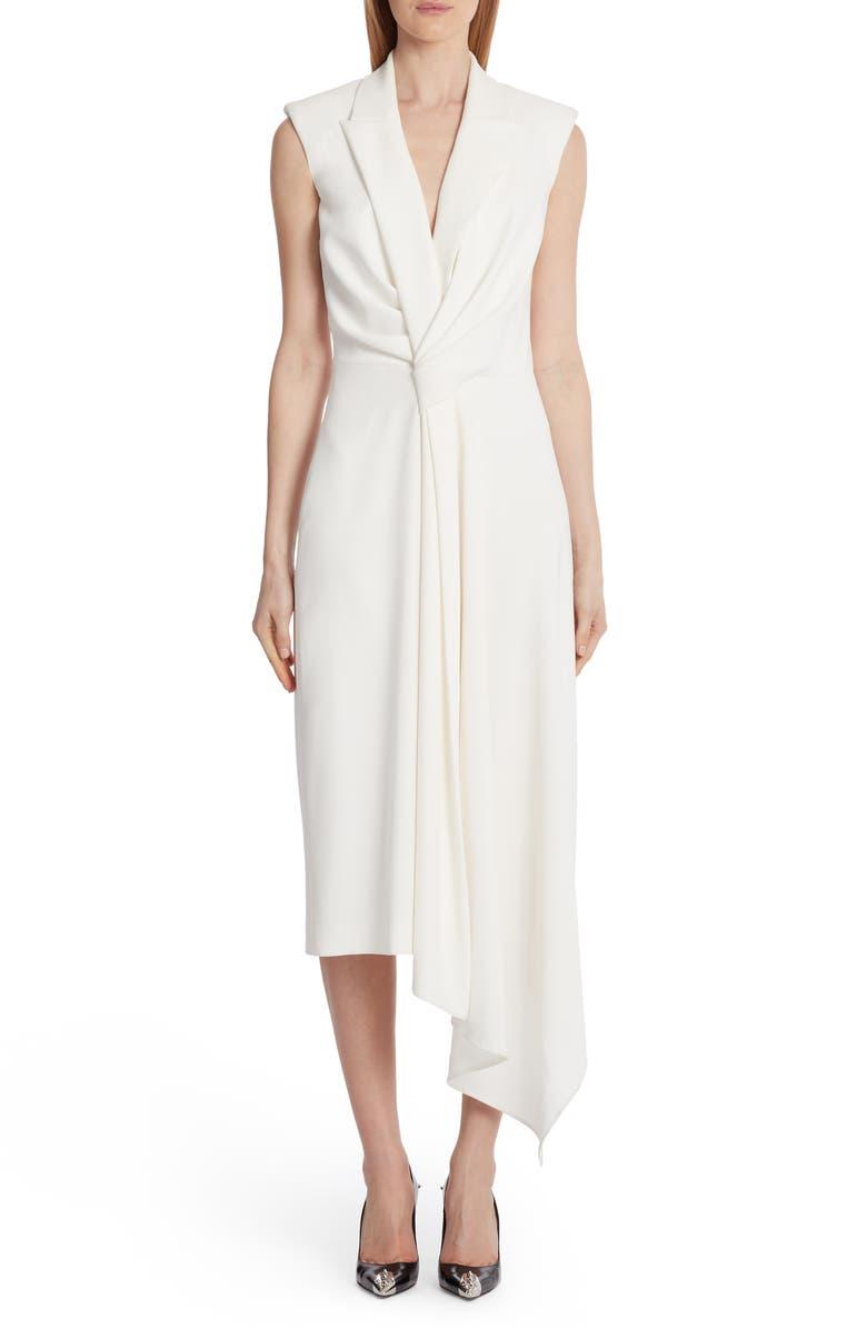 ALEXANDER MCQUEEN Gathered Asymmetrical Midi Sheath Dress, Main, color, LIGHT IVORY