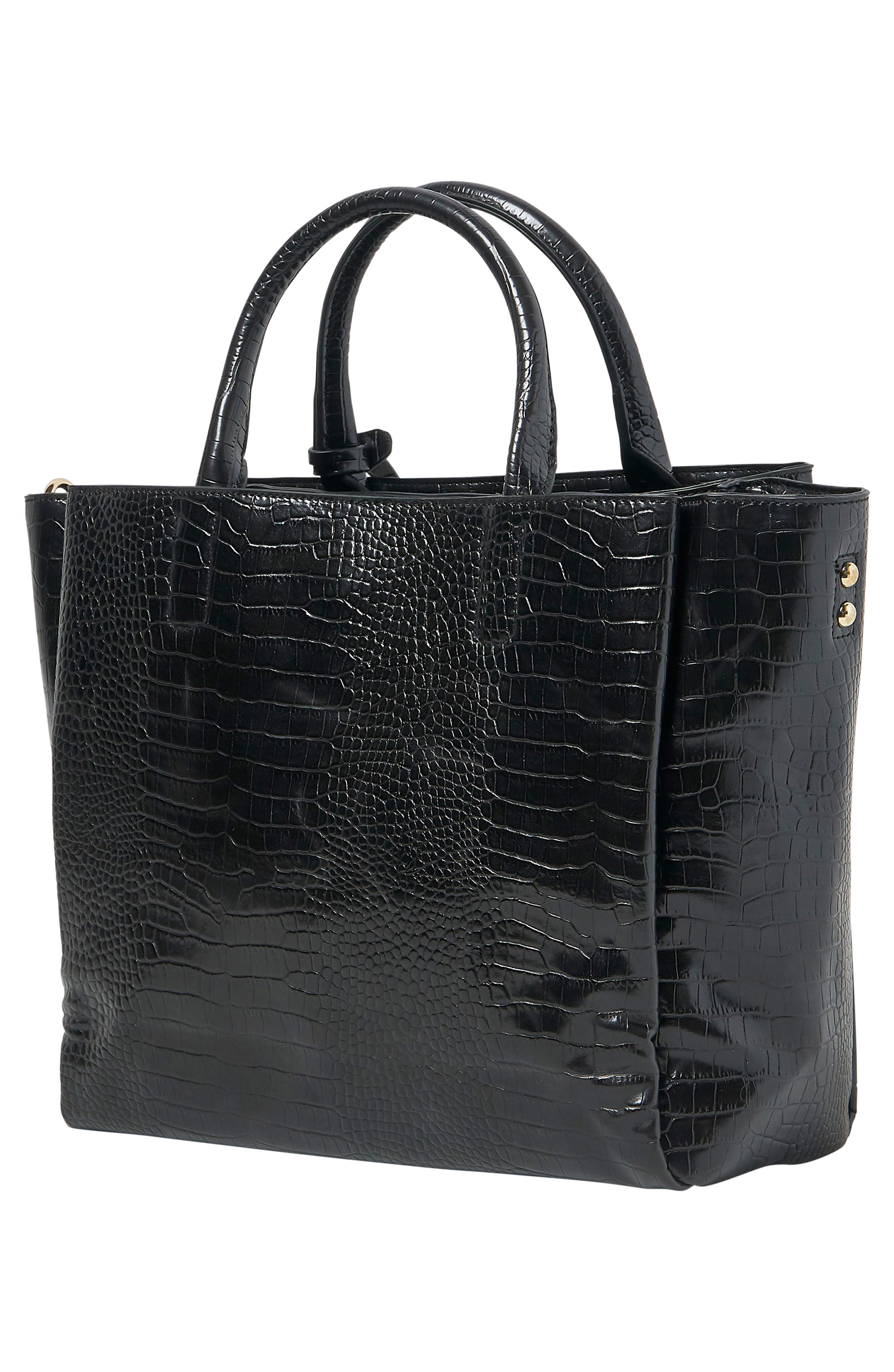 ,                             My World Croc-Embossed Vegan Leather Tote,                             Alternate thumbnail 2, color,                             BLACK