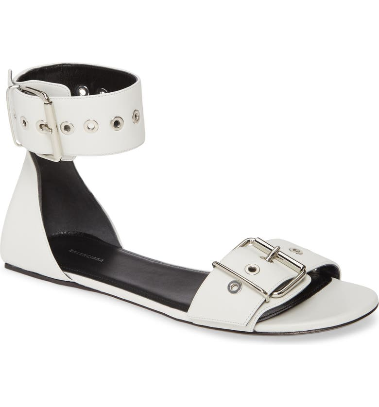 BALENCIAGA Ankle Strap Flat Sandal, Main, color, WHITE/ NICKEL