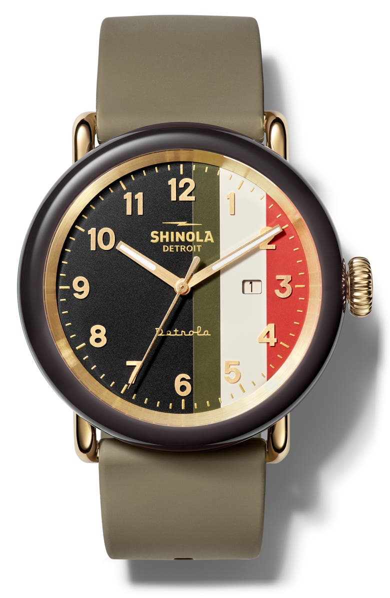 SHINOLA Detrola Silicone Strap Watch, 43mm, Main, color, KHAKI/ CREAM/ RED/ CHARCOAL