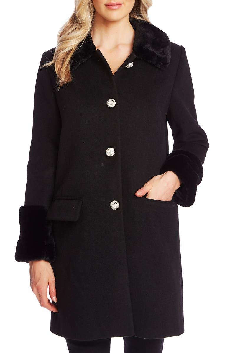 CECE Twill Coat with Faux Fur Trim, Main, color, RICH BLACK